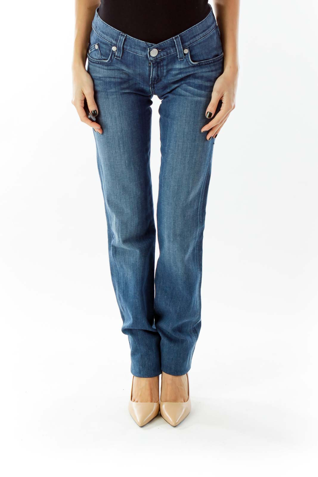 Blue Straight-Leg Jeans Front