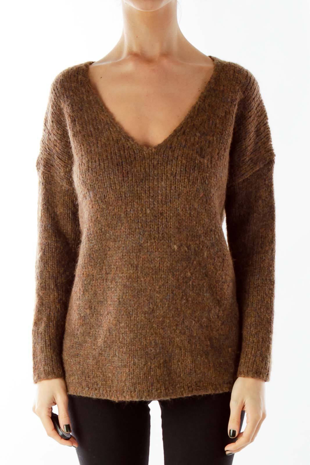 Brown V-Neck Sweater Front