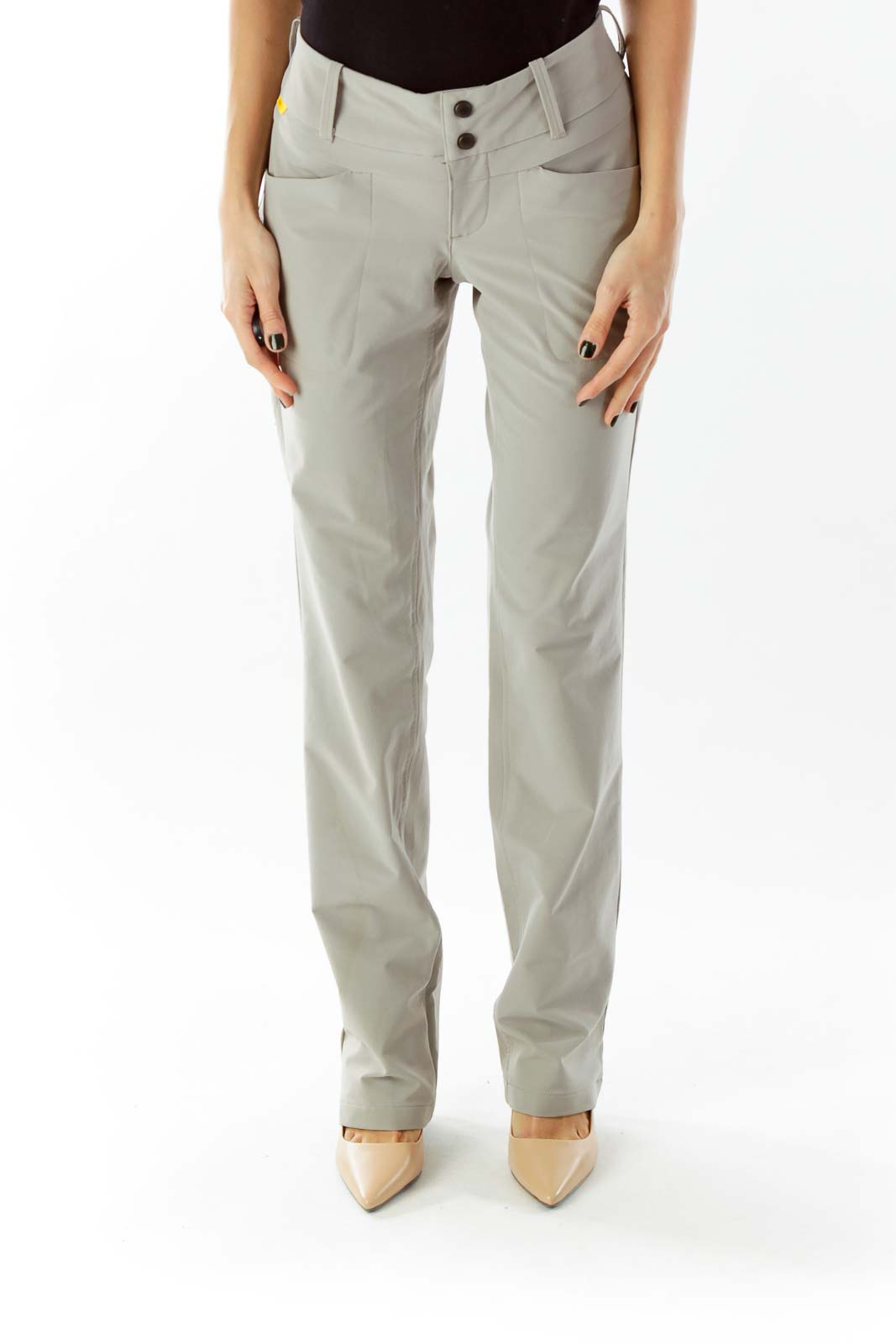 Beige Pocketed Buttoned Straight-Leg Sports Pants Front