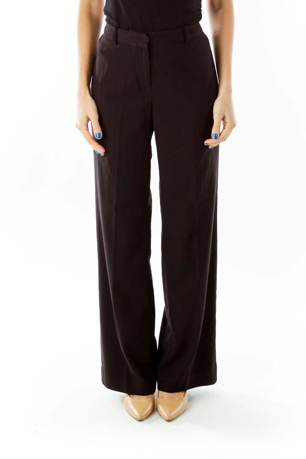 Black High-Waisted Straight-Leg Pants Front