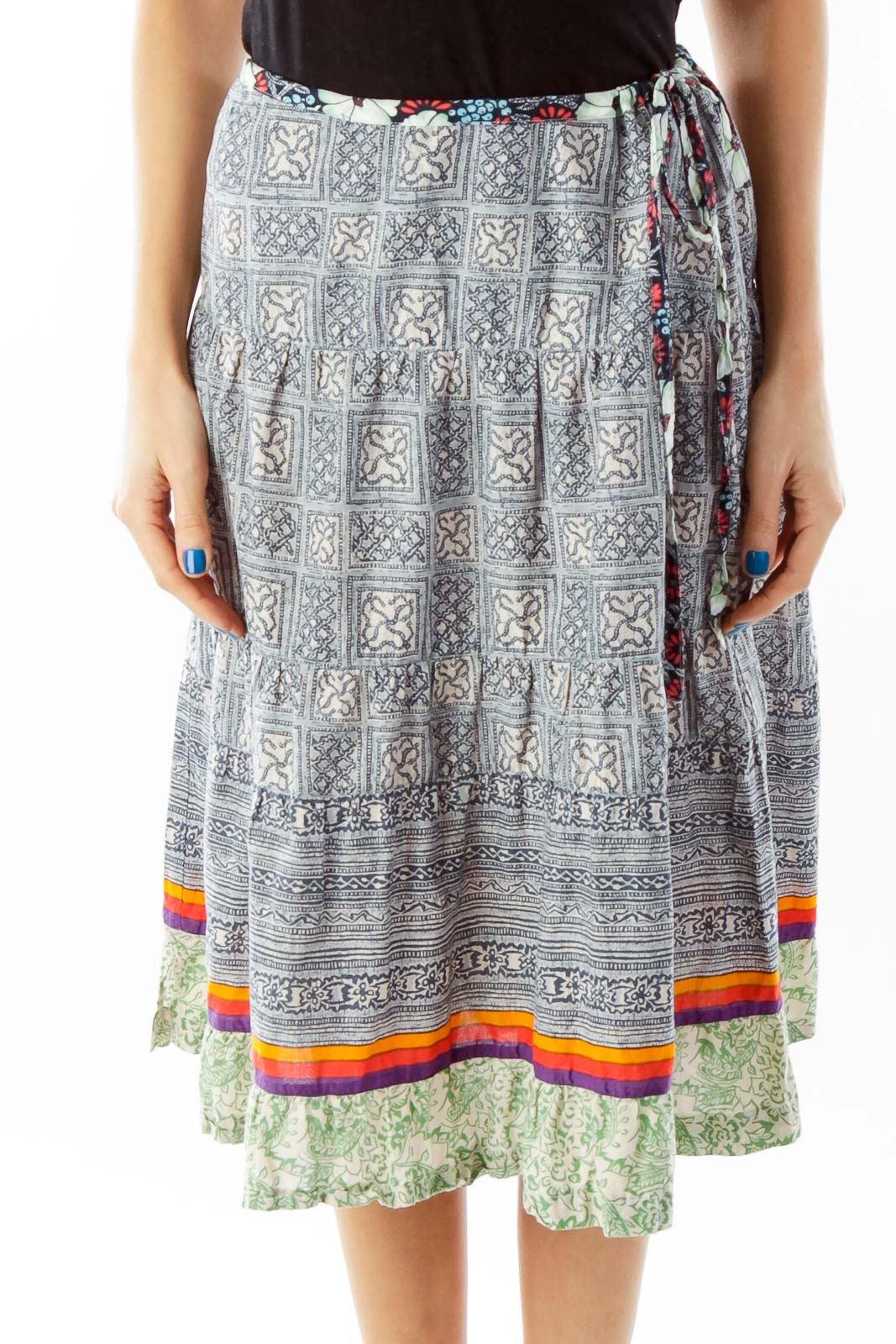 Multicolor Tribal Print Flared Skirt Front
