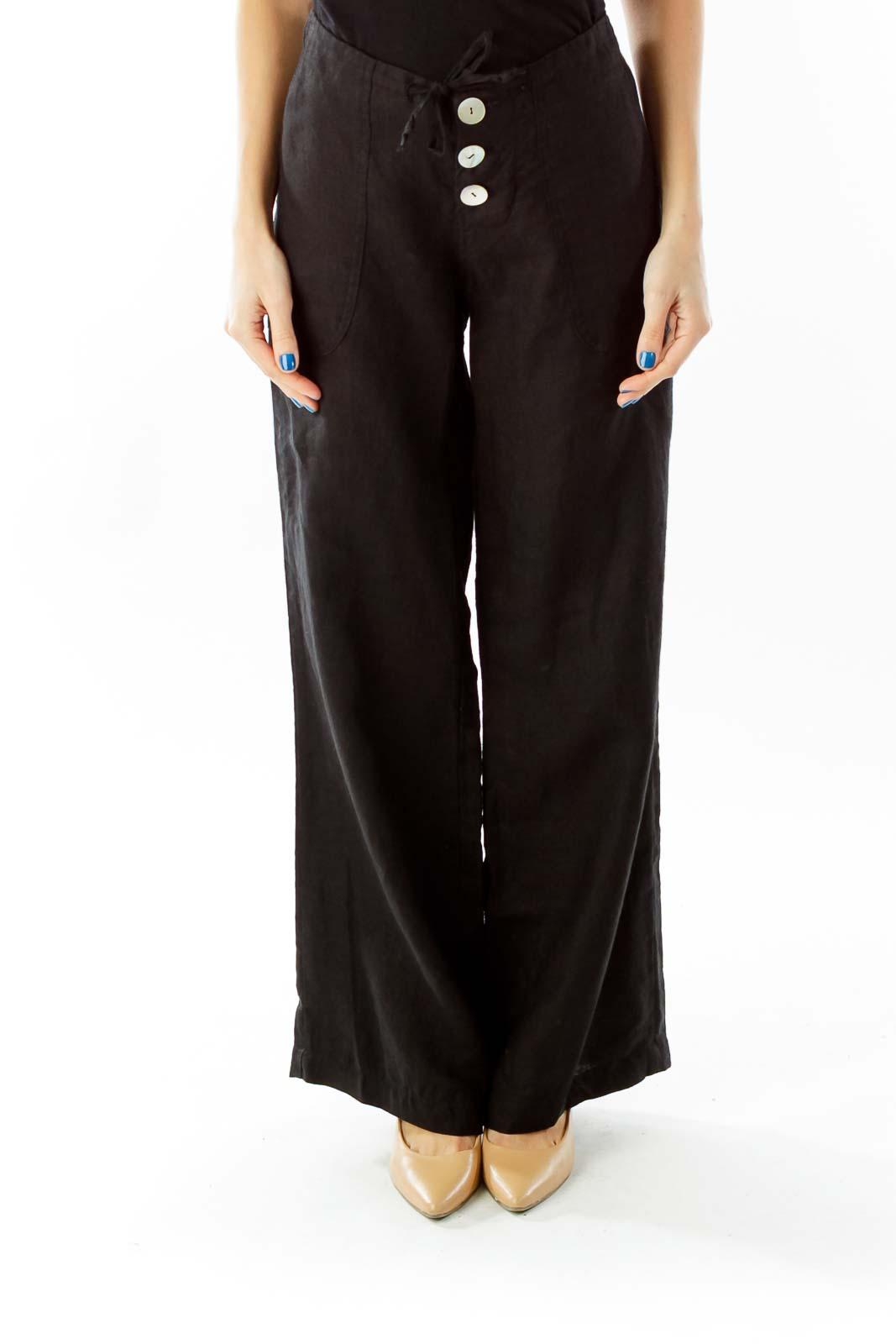 Black Button Fly Linen High-Waisted Wide-Leg Pants Front