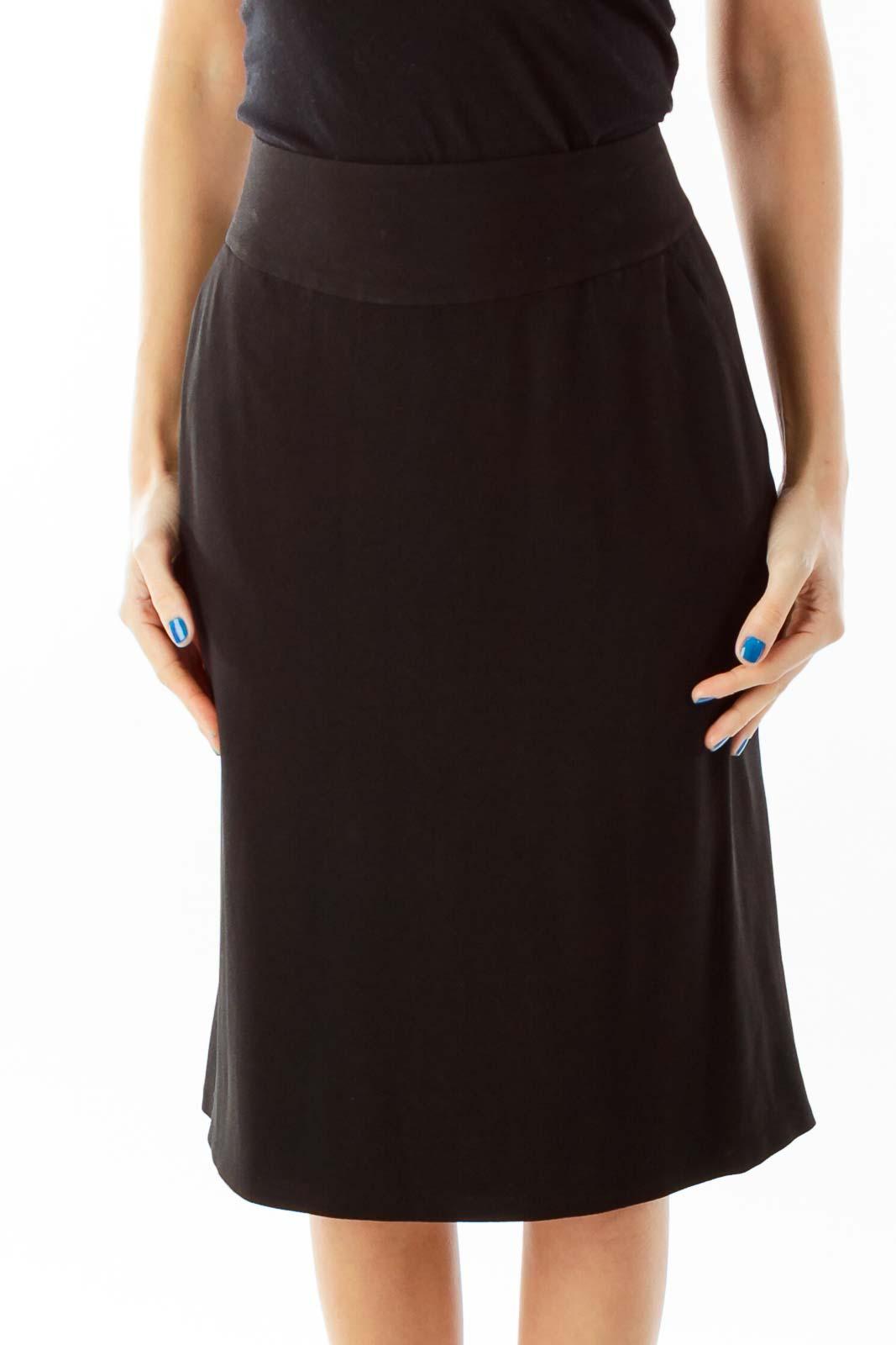 Black Pencil Midi Skirt Front