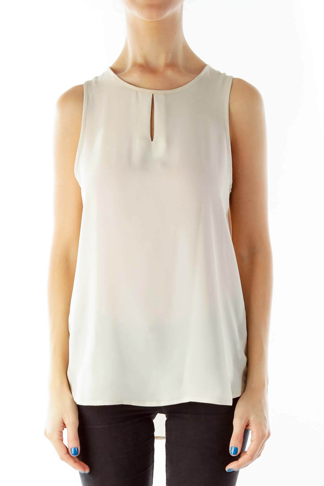 Beige See-Through Cut-Out Tank Top Front