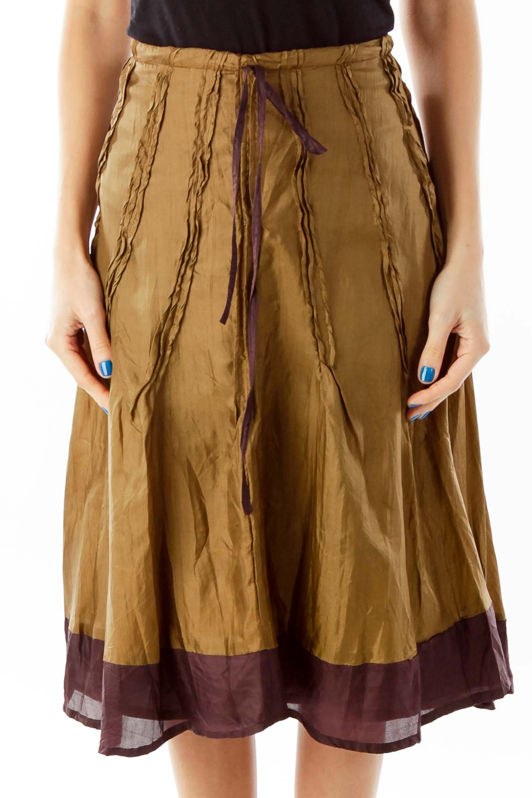 Brown Silk Flared Midi Skirt Front