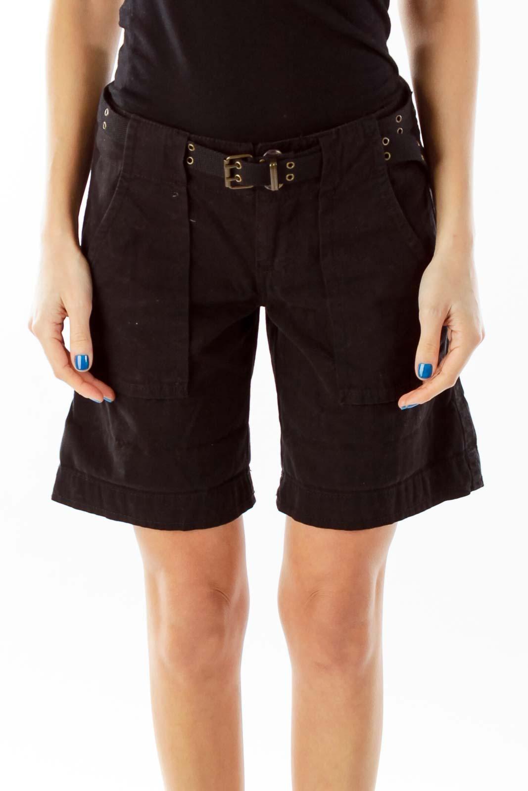 Black Belted Pocketed Shorts Front