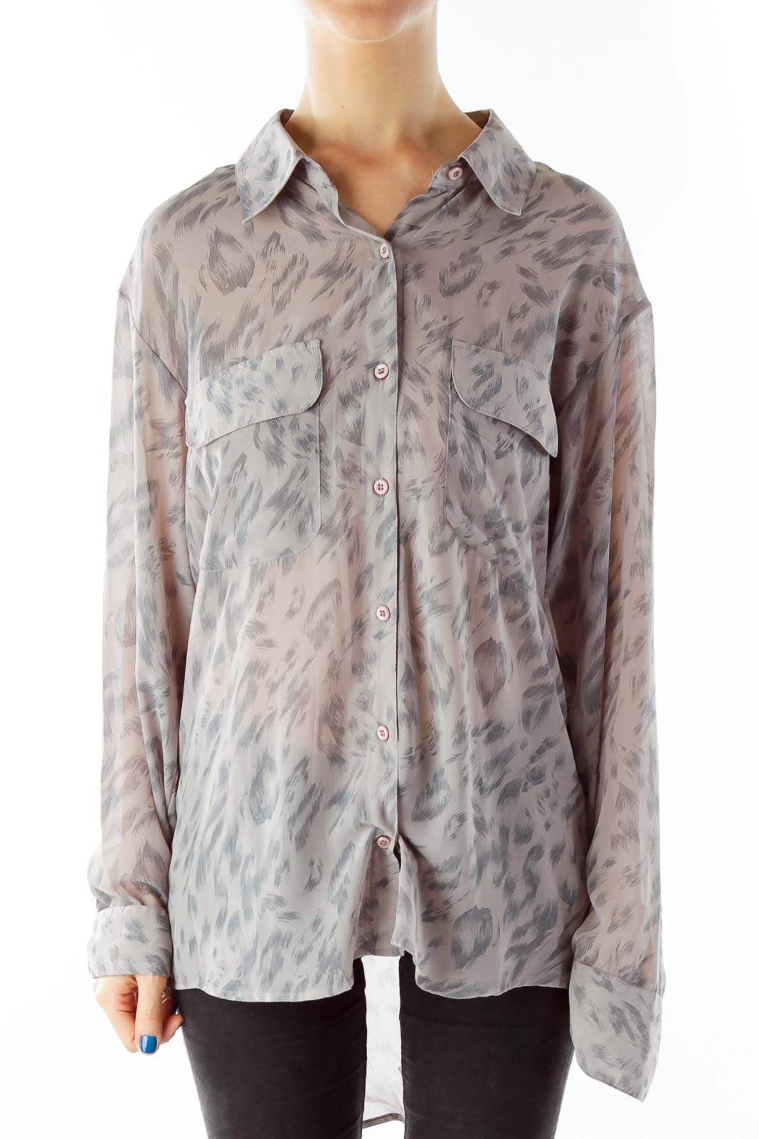 Taupe Pocketed Print Button Down Blouse Front