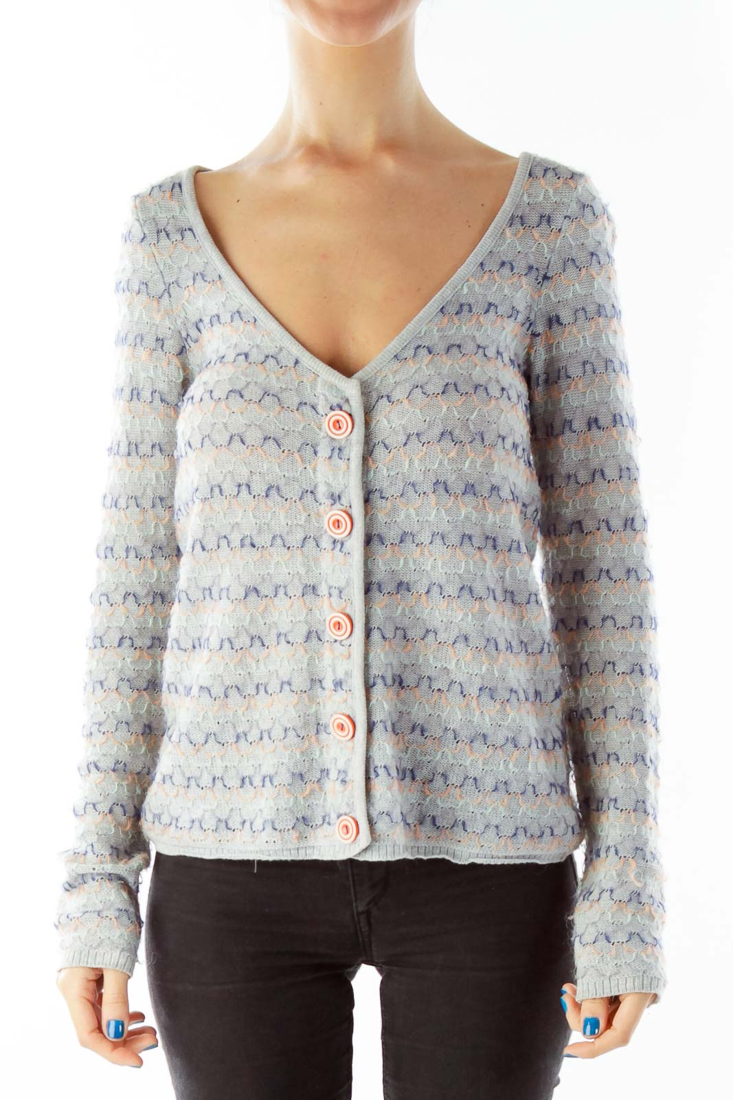 Gray Knitted Button Down Cardigan Front