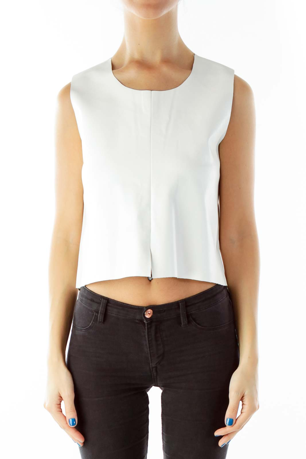 White Pleather Crop Top Front