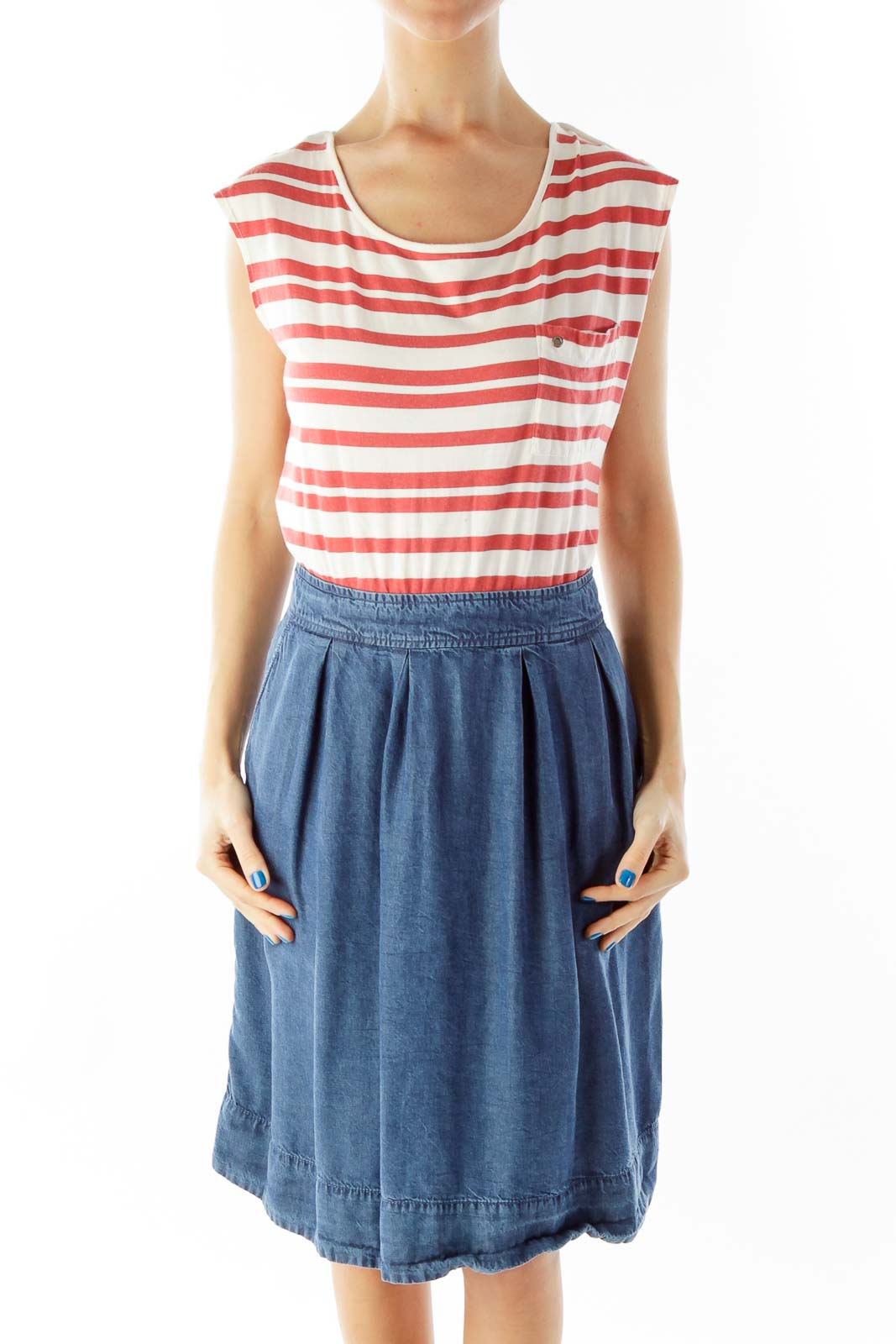 Red White Blue Striped Dress Front