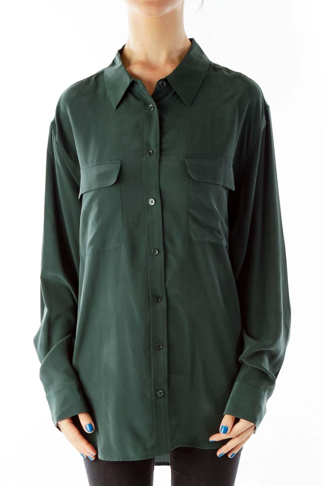 Green Silk Shirt Front