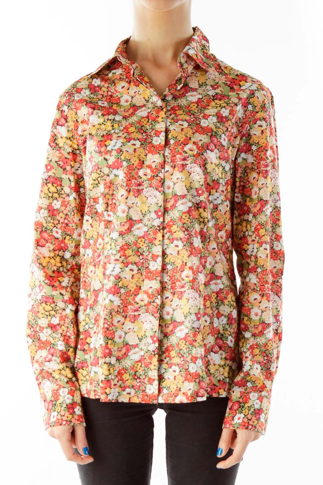 Orange Flower Print Shirt Front