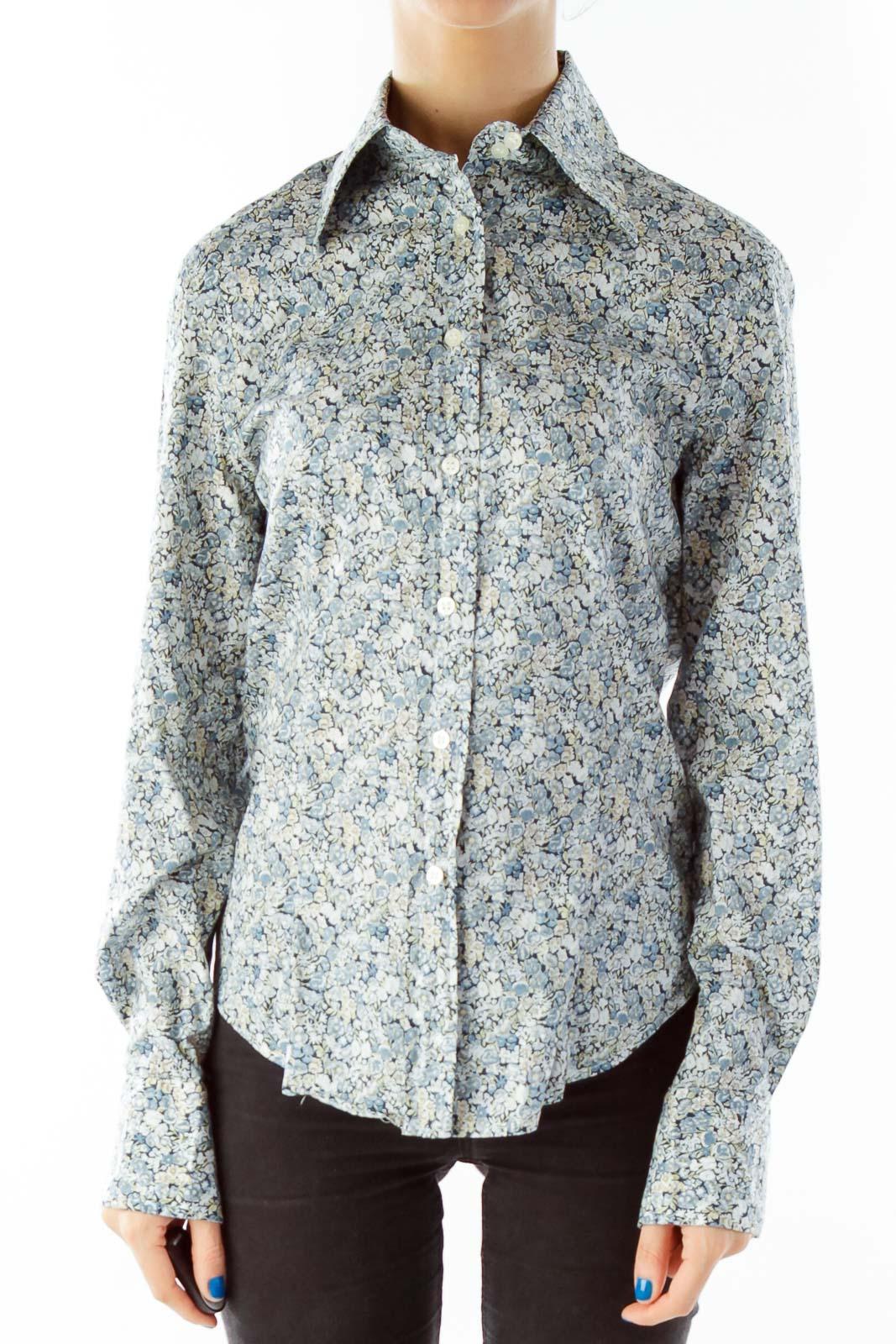 Blue Flower Print Shirt Front
