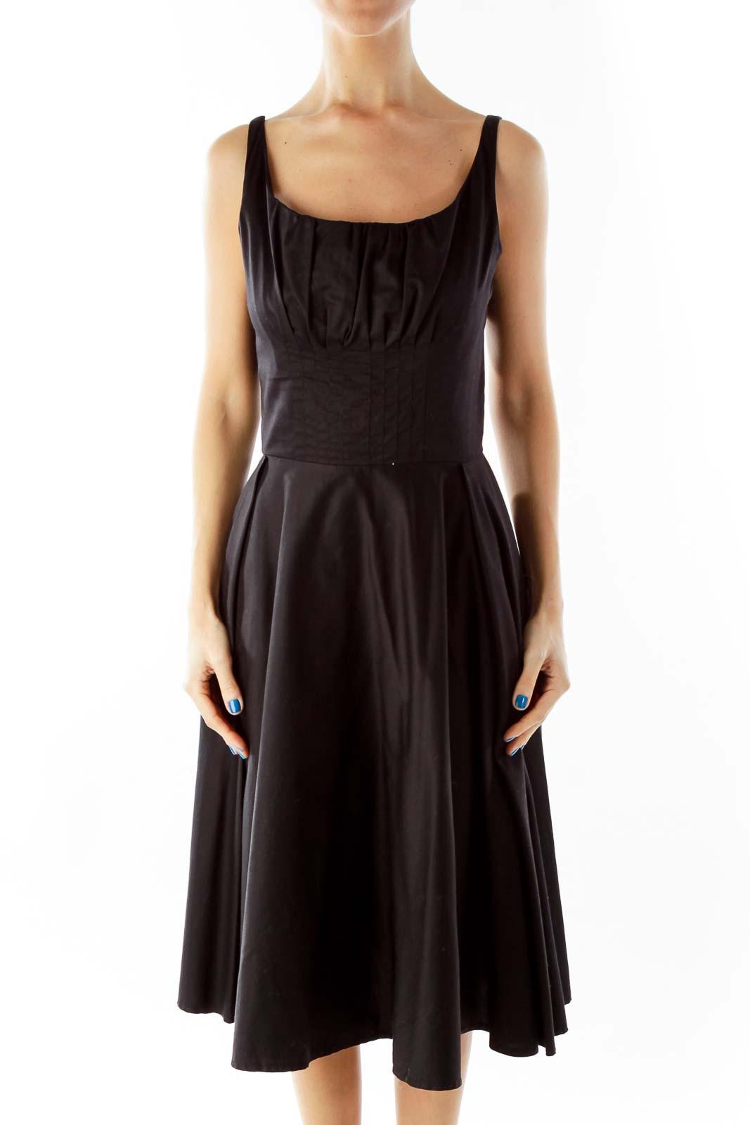 Black Empire Waist Dress Front