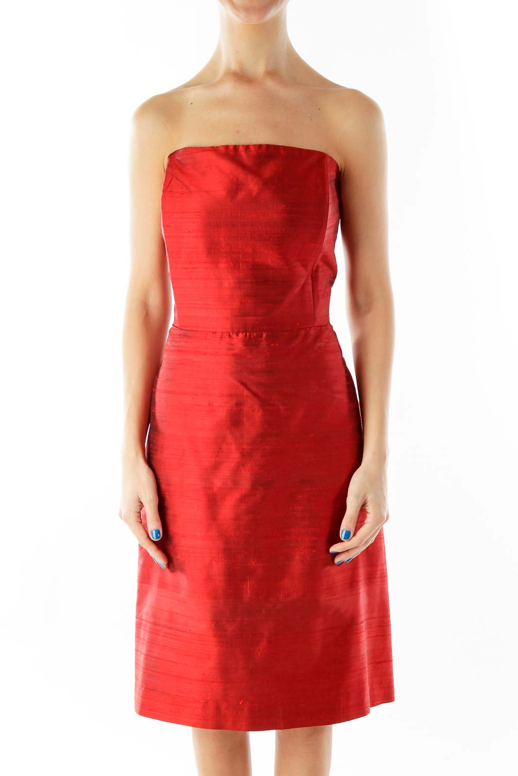 Red Satin Strapless Dress Front