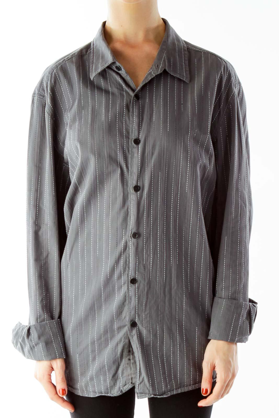 Gray Striped Shirt Front