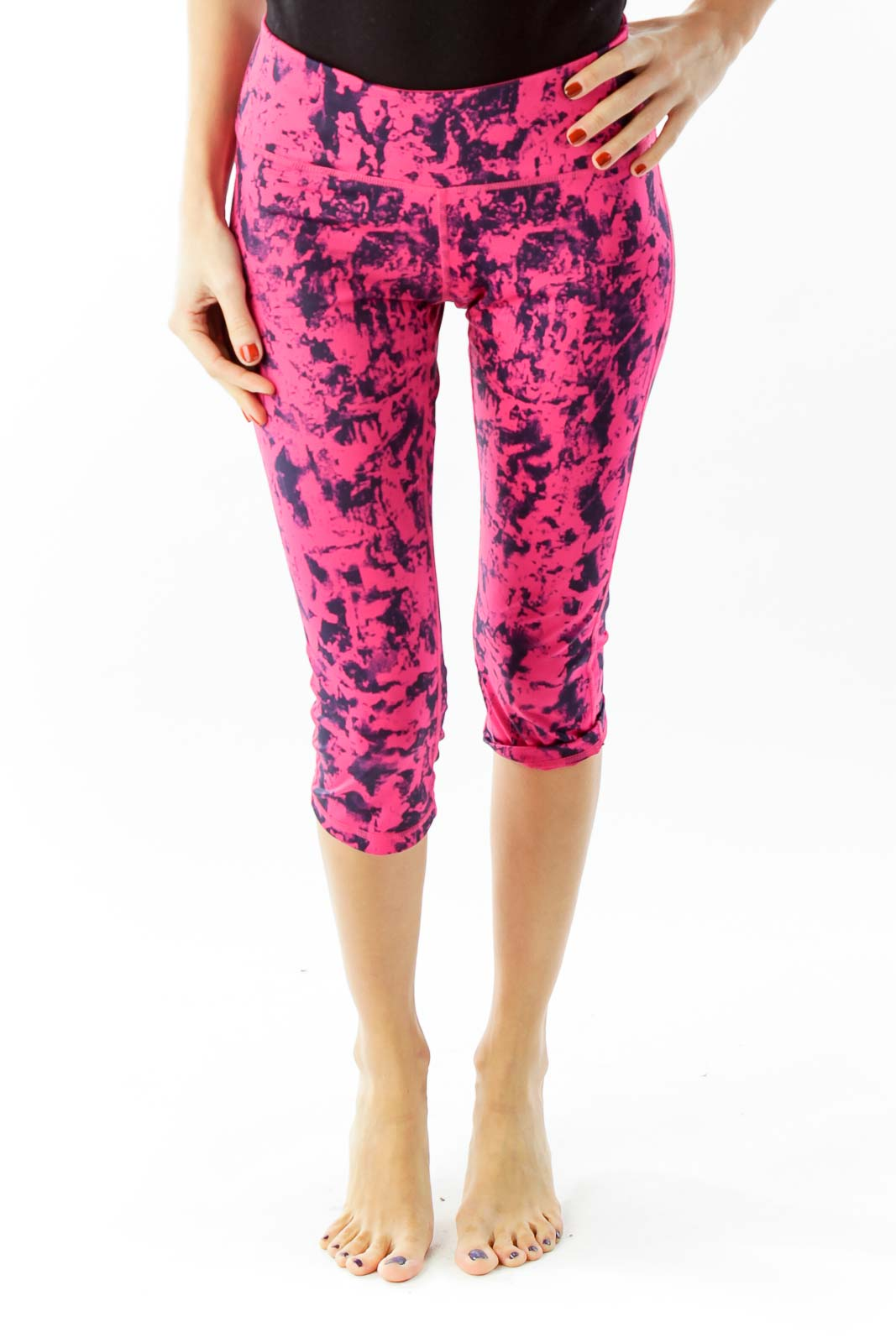 Pink Black Print Cropped Sports Pants Front