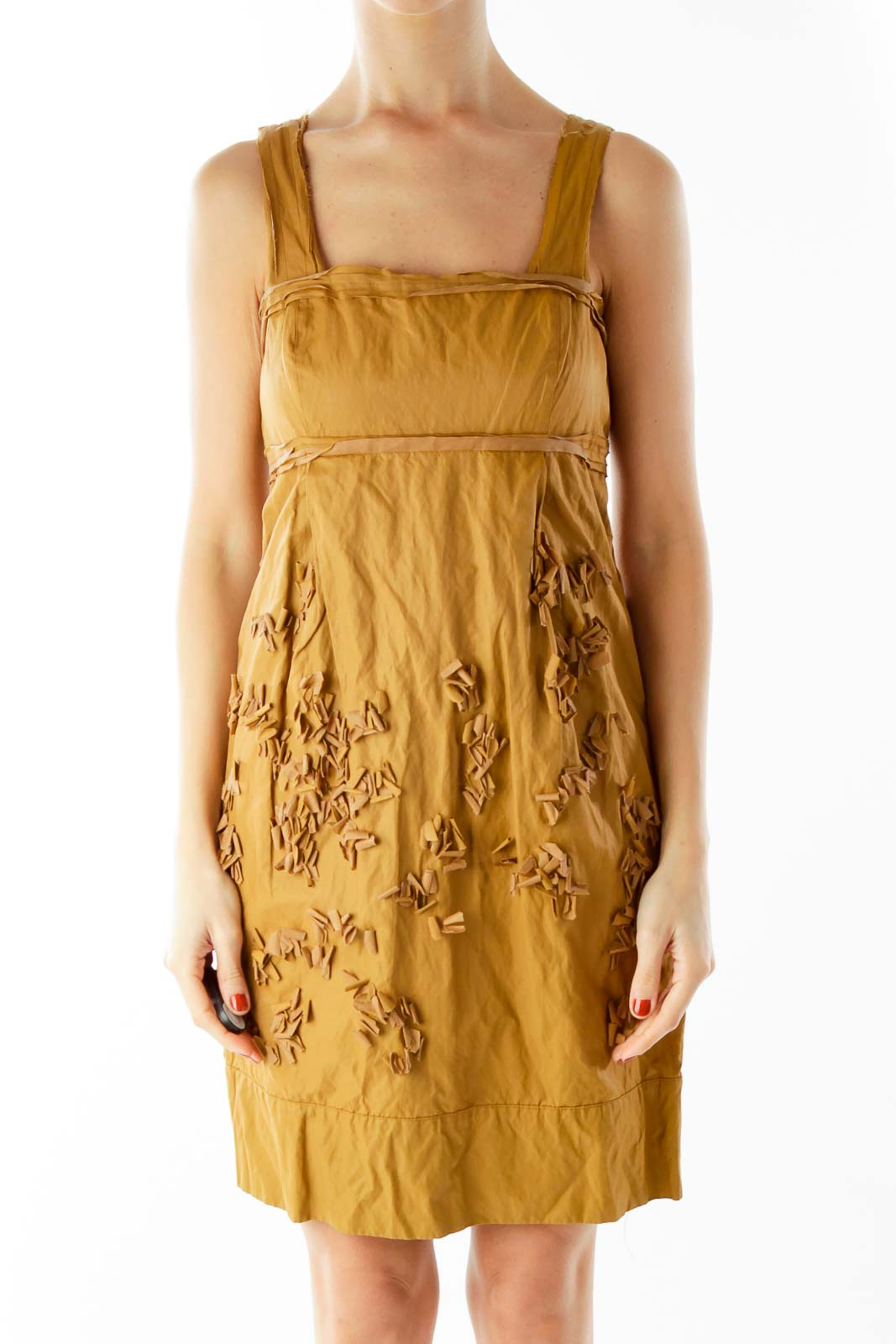 Brown Textured Day Dress Front