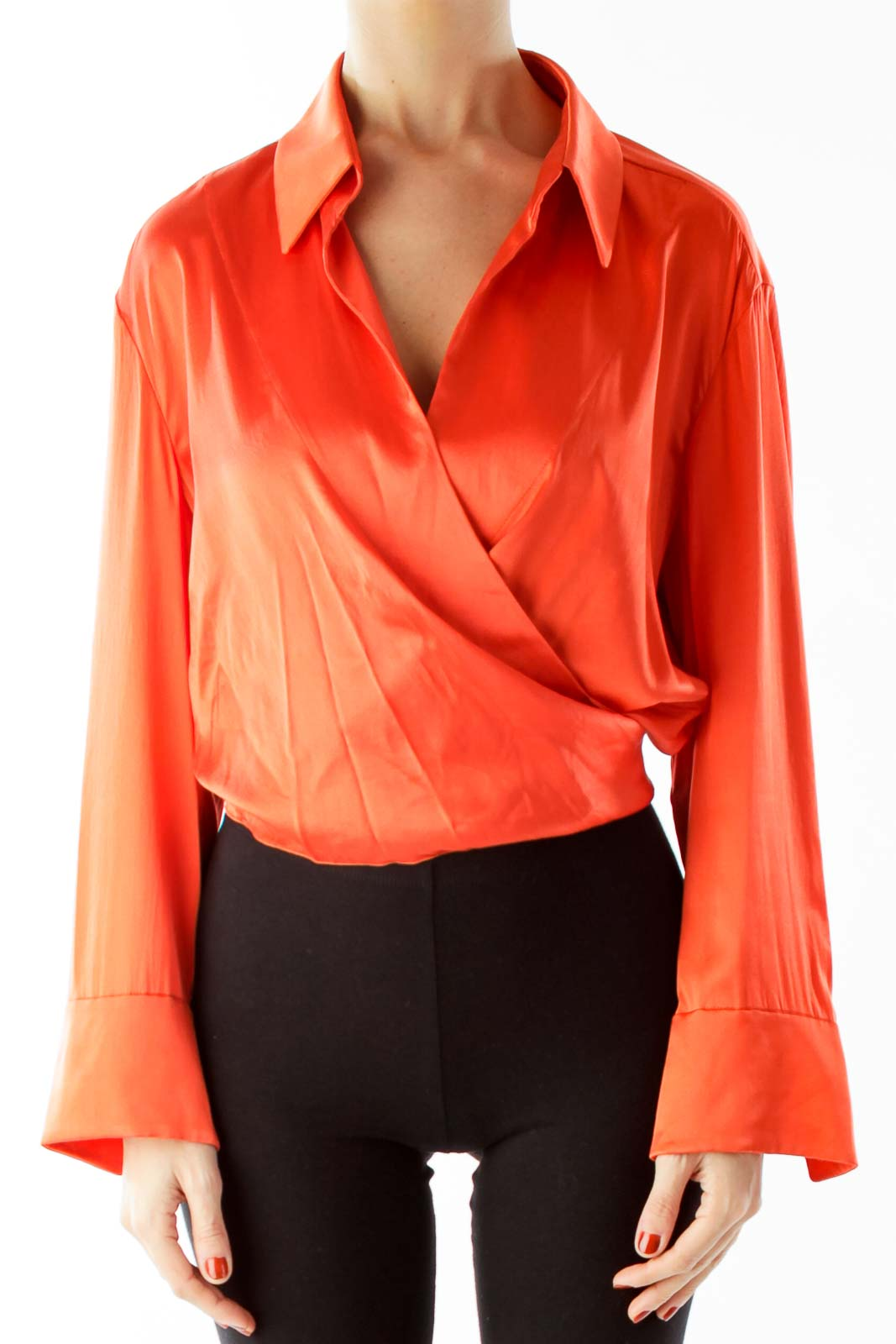 Orange Open Front Cropped Belted Blouse Front