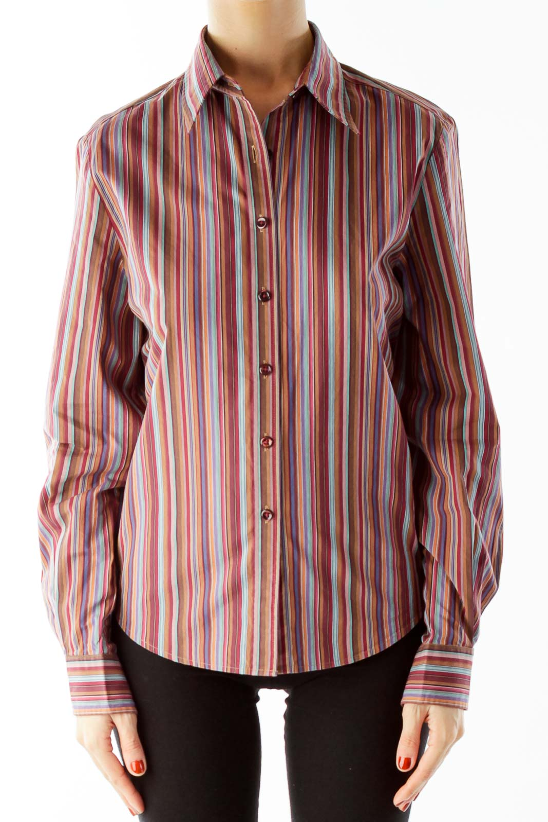 Multicolor Pinstriped Shirt Front