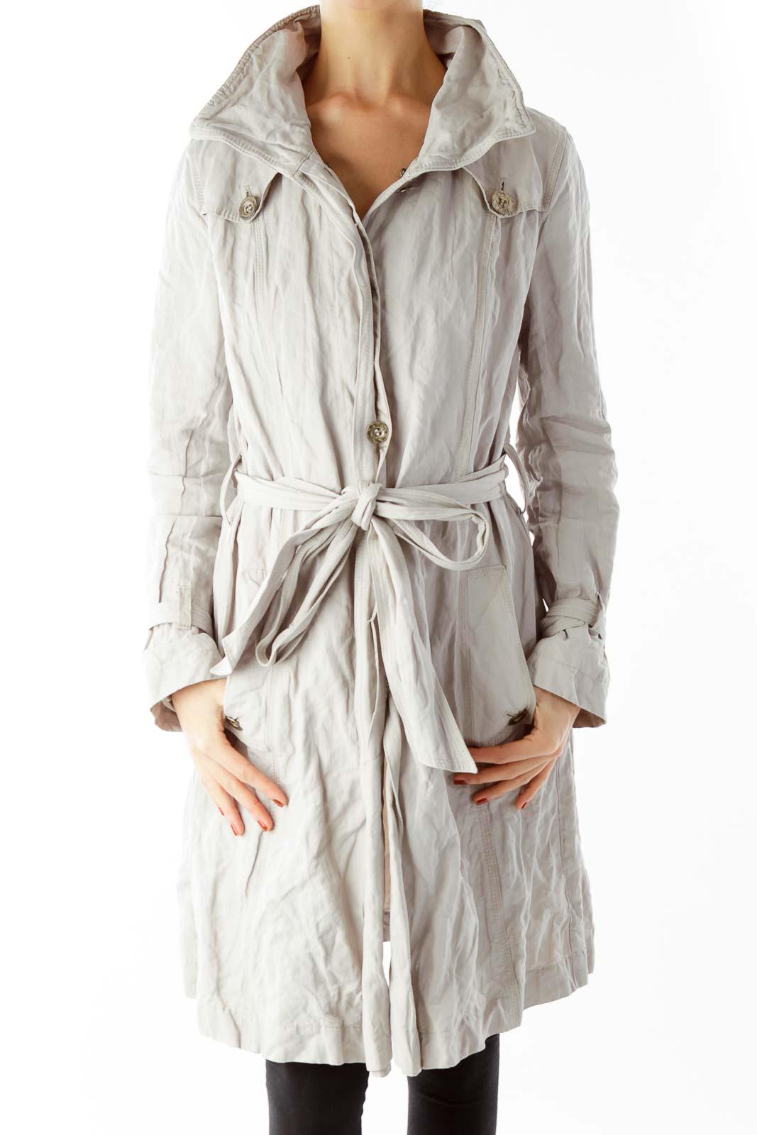 Beige Wrap Coat Front