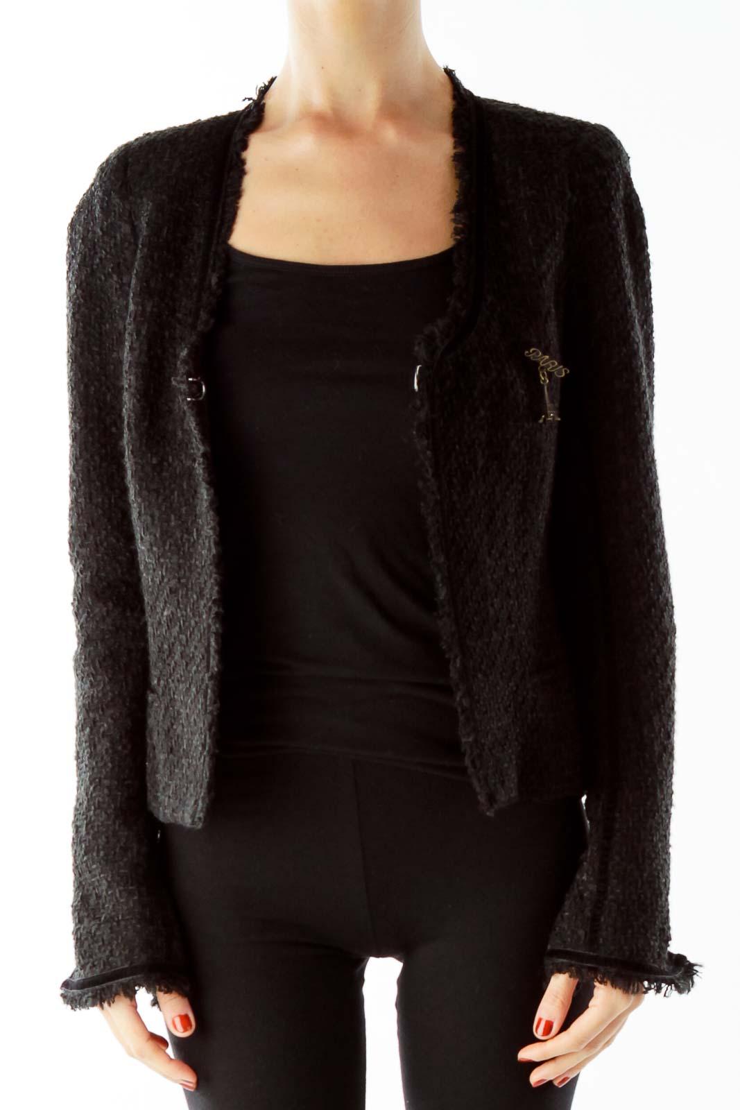 Black Tweed Coat Front