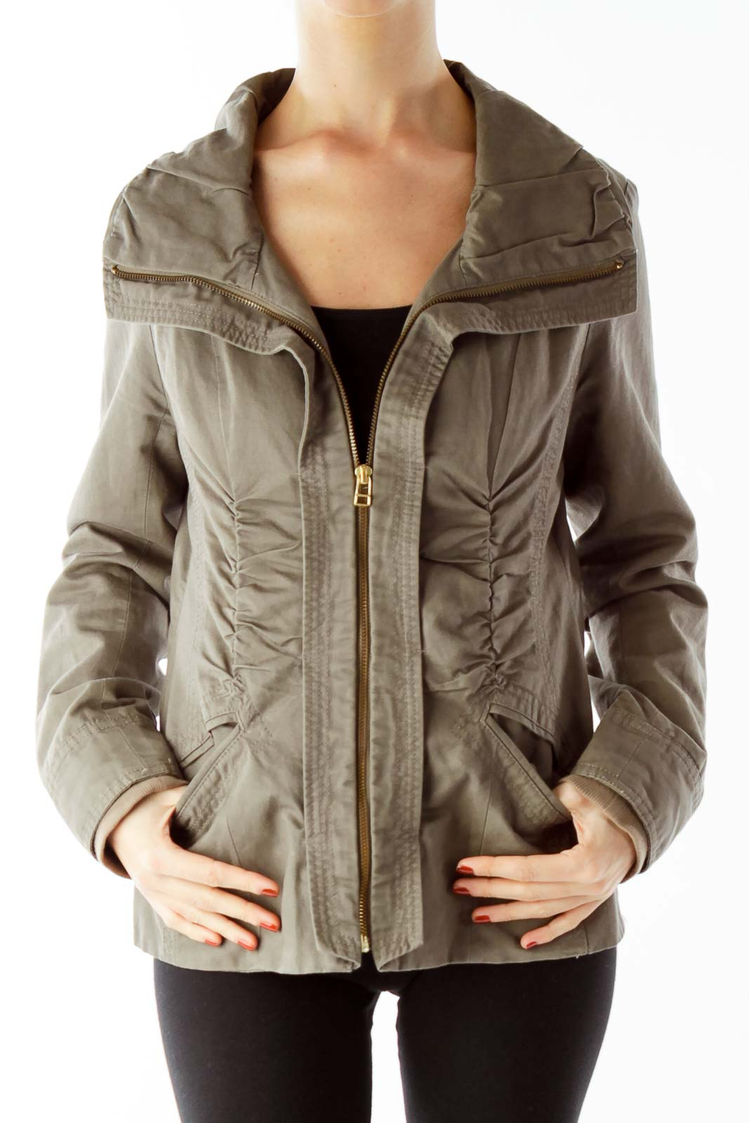 Brown Ruffled Jacket Front
