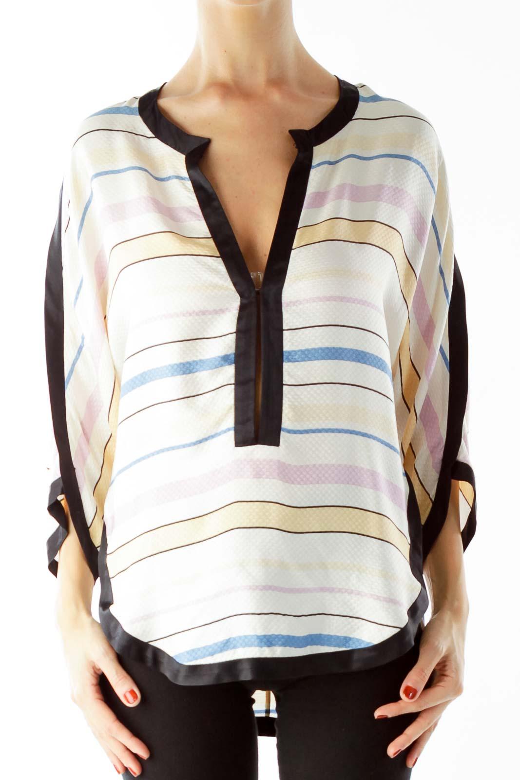 Cream Black Striped Blouse Front