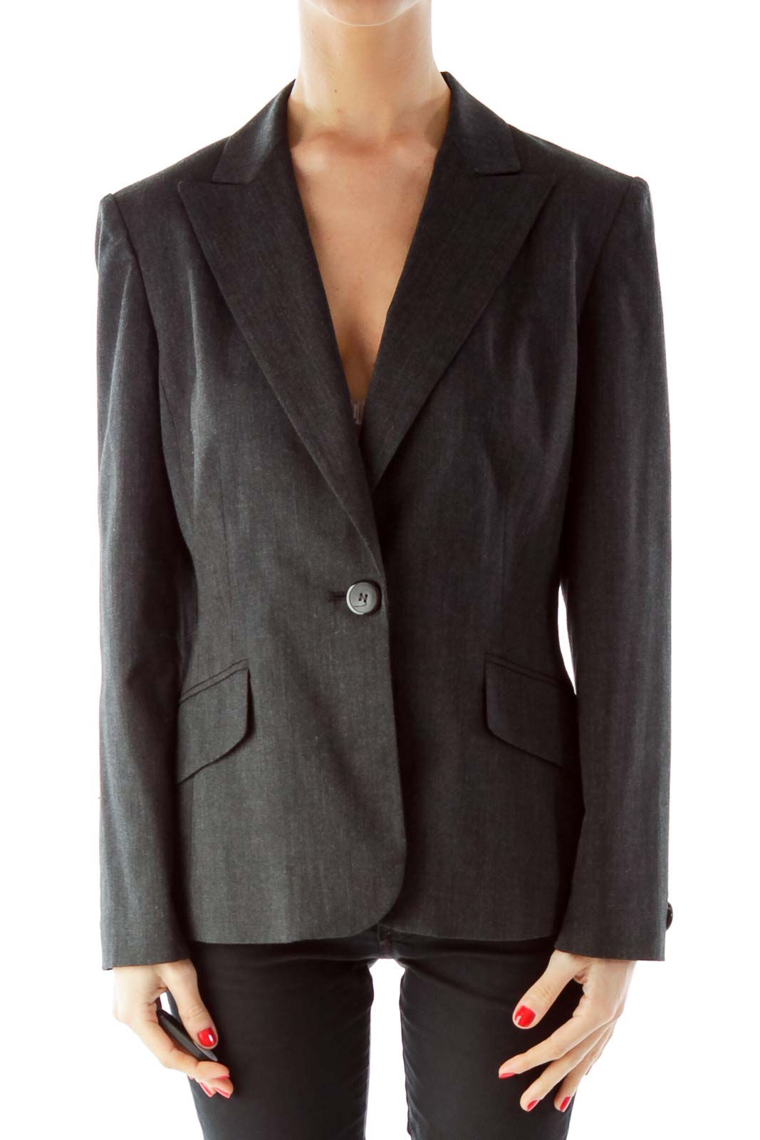 Gray Single Breasted Pocketed Suit Jacket Front