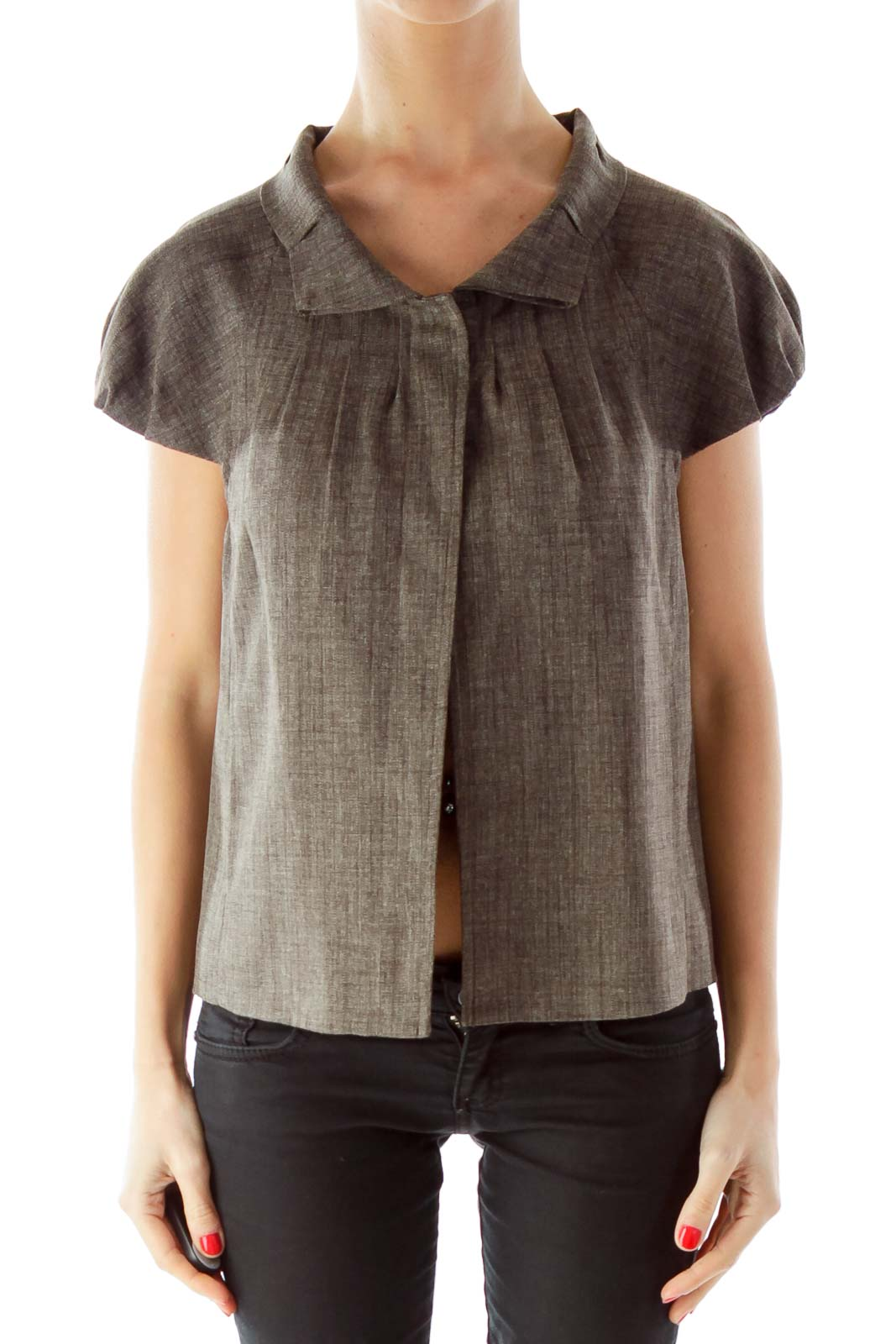 Gray Buttoned Ruffled Short Sleeve Jacket Front
