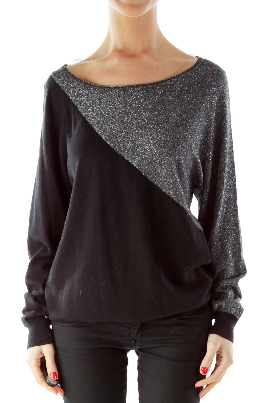 Black Silver Sparkle Loose Knit Top Front