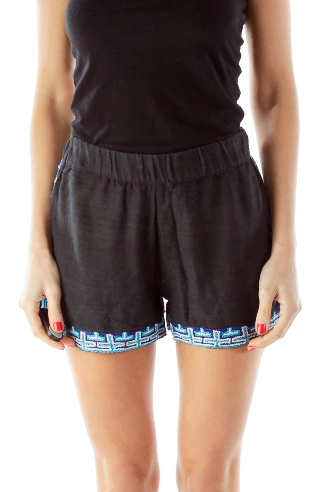 Black Blue White Embroidered Shorts Front