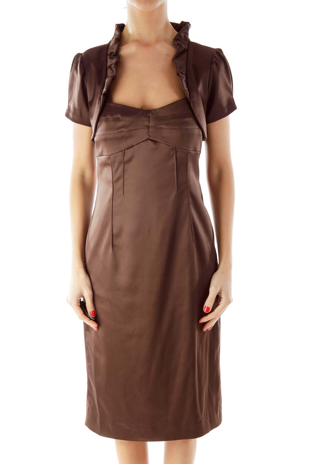 Brown Fitted Dress with Bolero Front