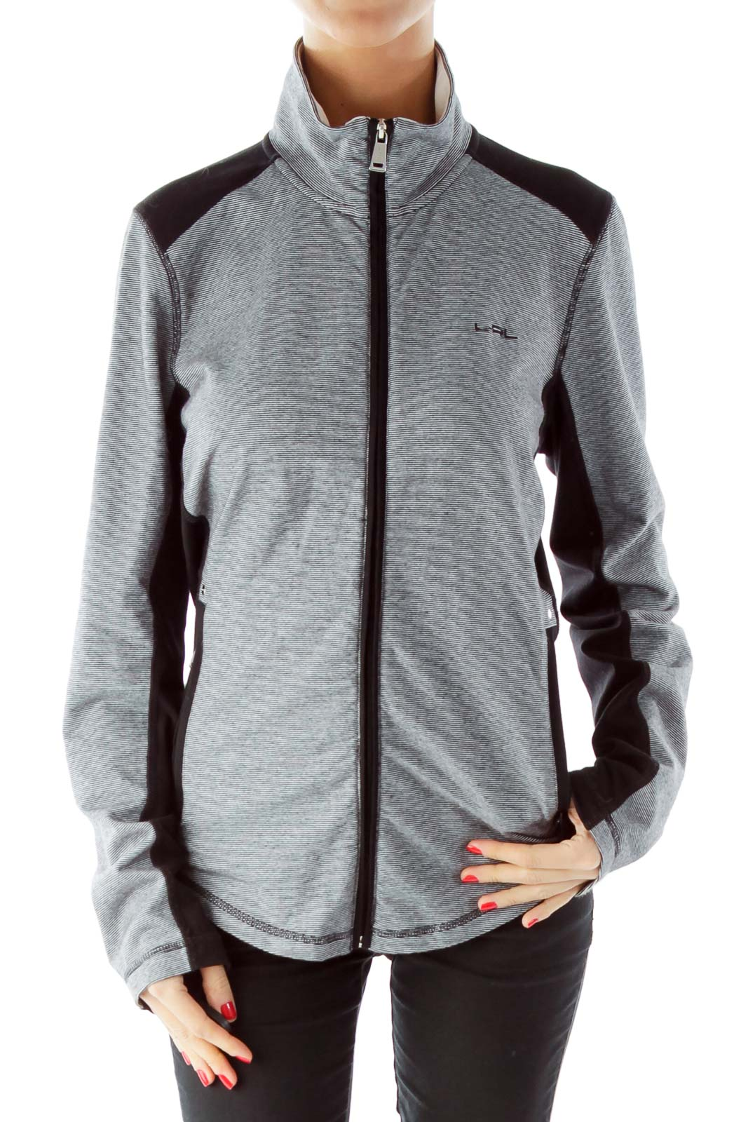Black White Pinstripe Sports Jacket Front