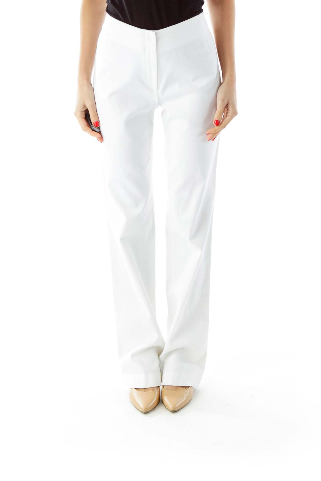 White Textured High-Waisted Pants Front