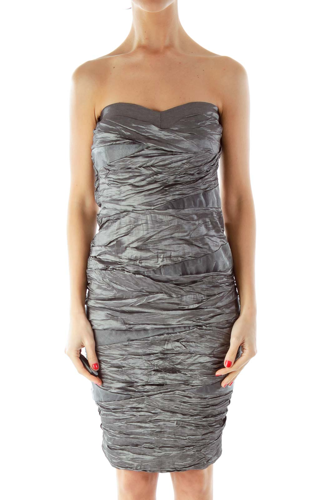 Gray Shimmer Strapless Cocktail Dress Front