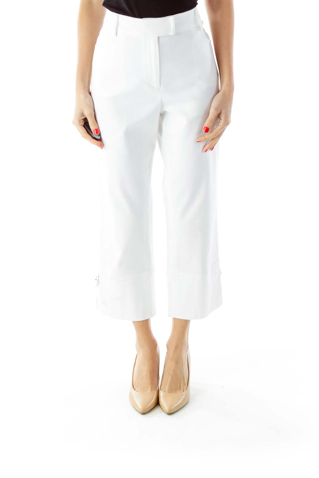 White Textured Cropped Pants Front