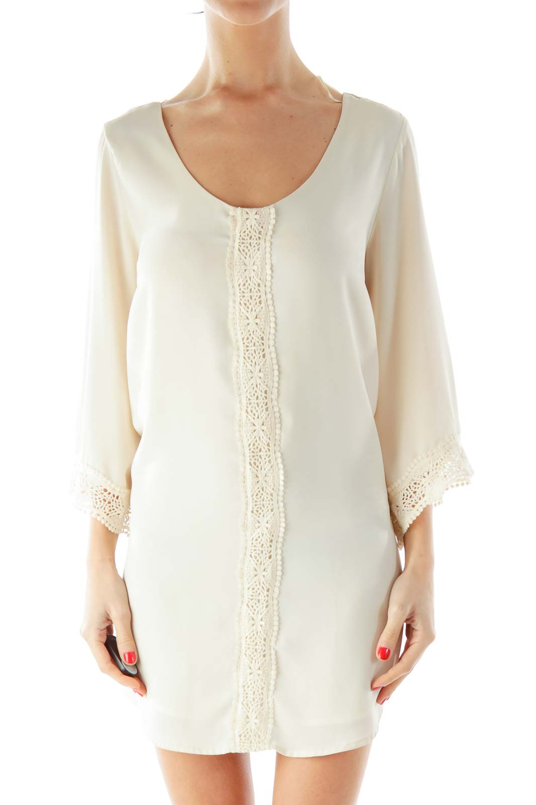 Cream Crochet Dress Front