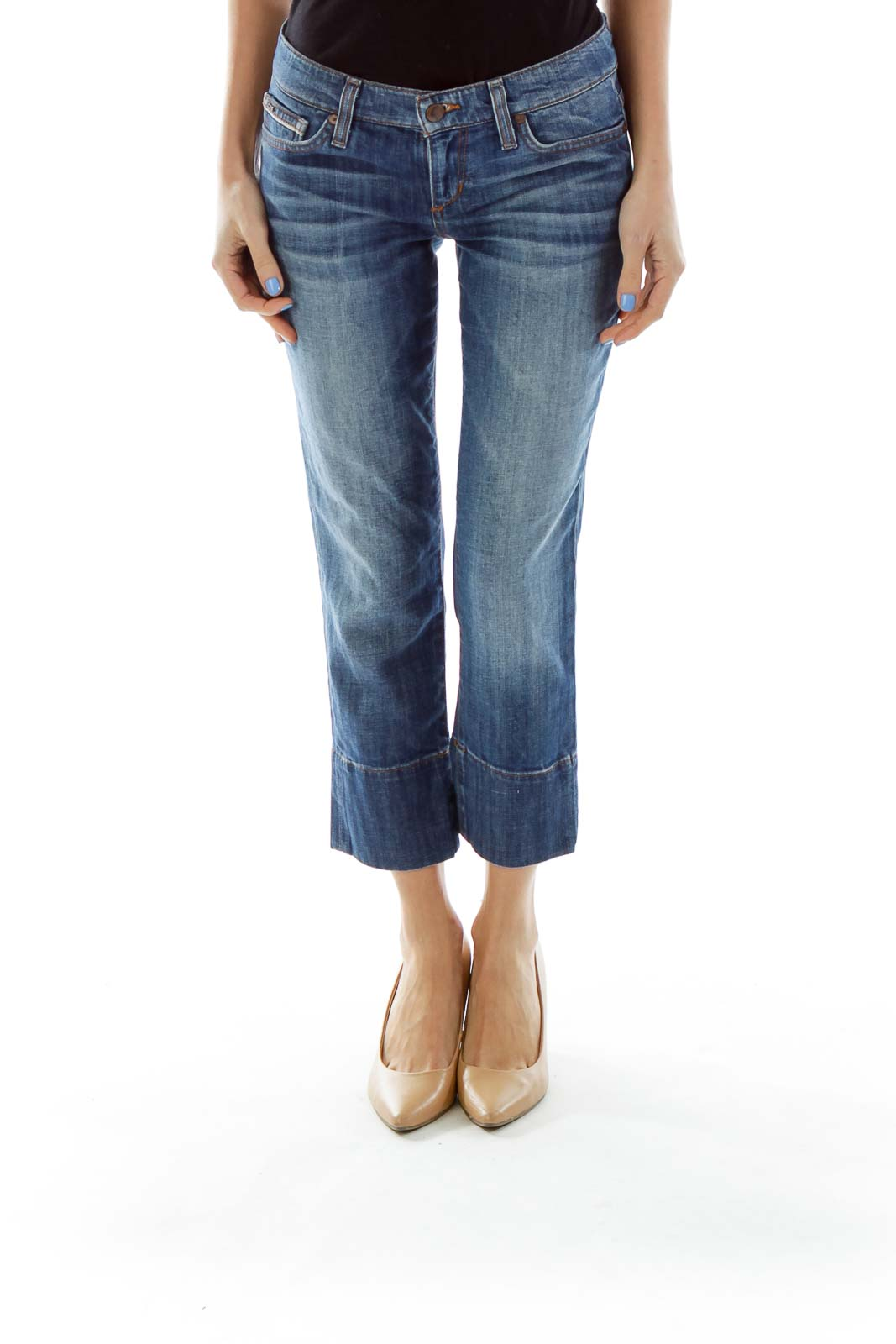 Blue Cropped Jeans Front