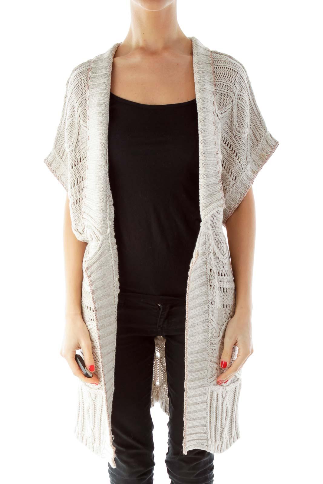 Beige Knit Open Cardigan Front