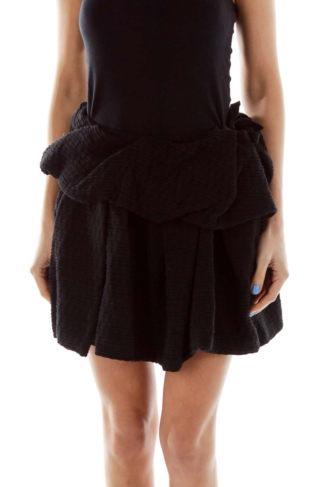 Black Textured Layered Mini Skirt Front