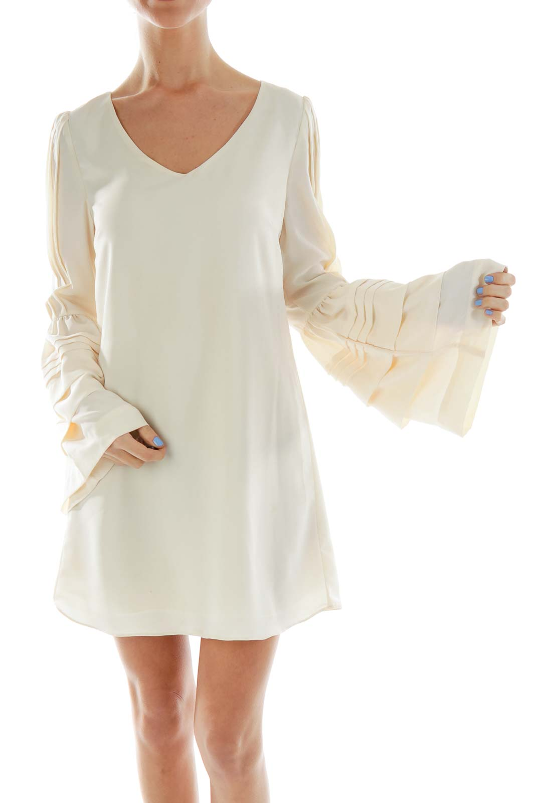 Cream Bell-Sleeve Top Front
