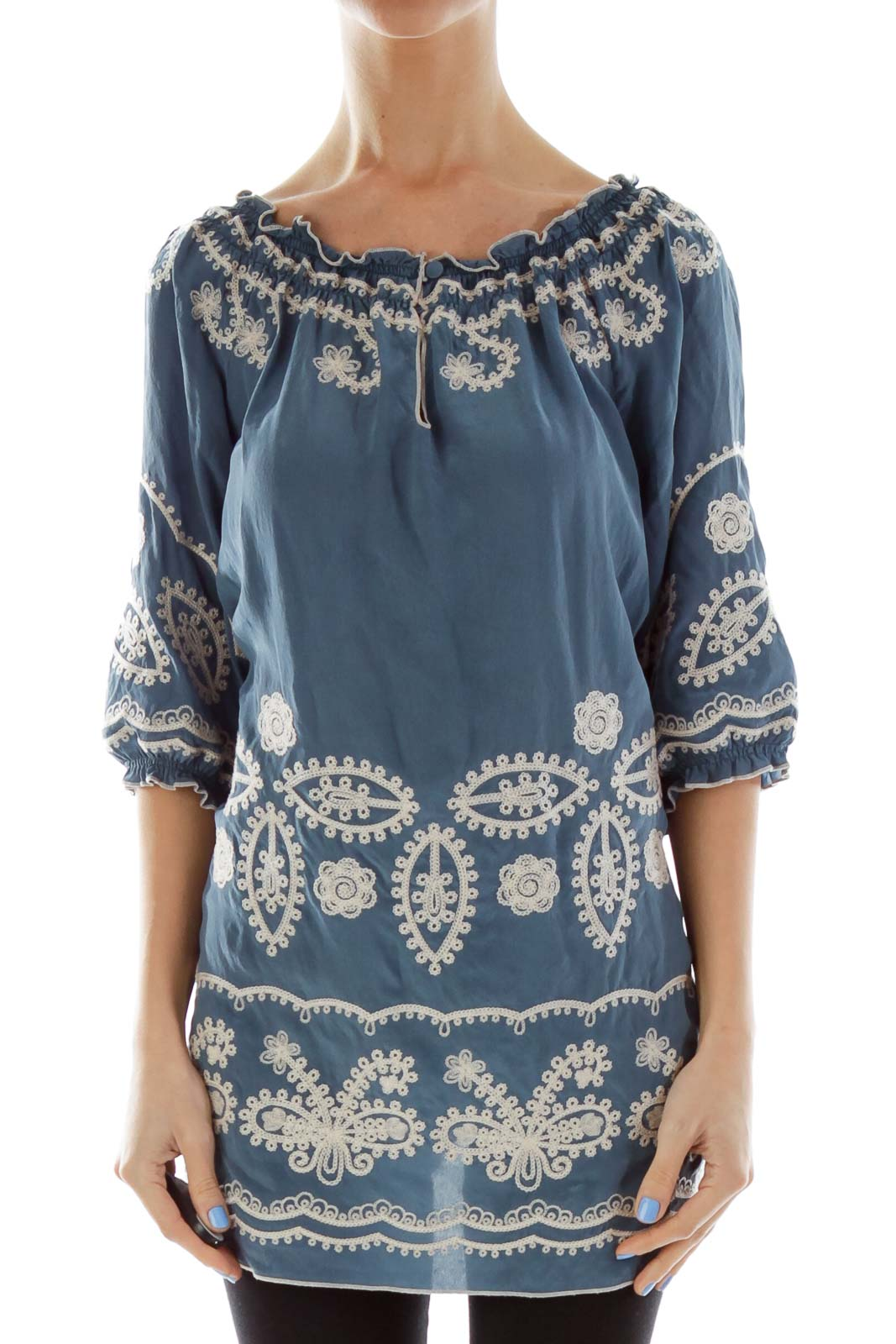 Blue Embroidered Doll Top Front