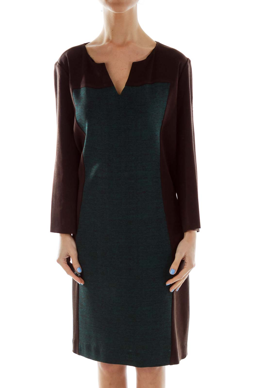 Brown Green Color Block Work Dress Front