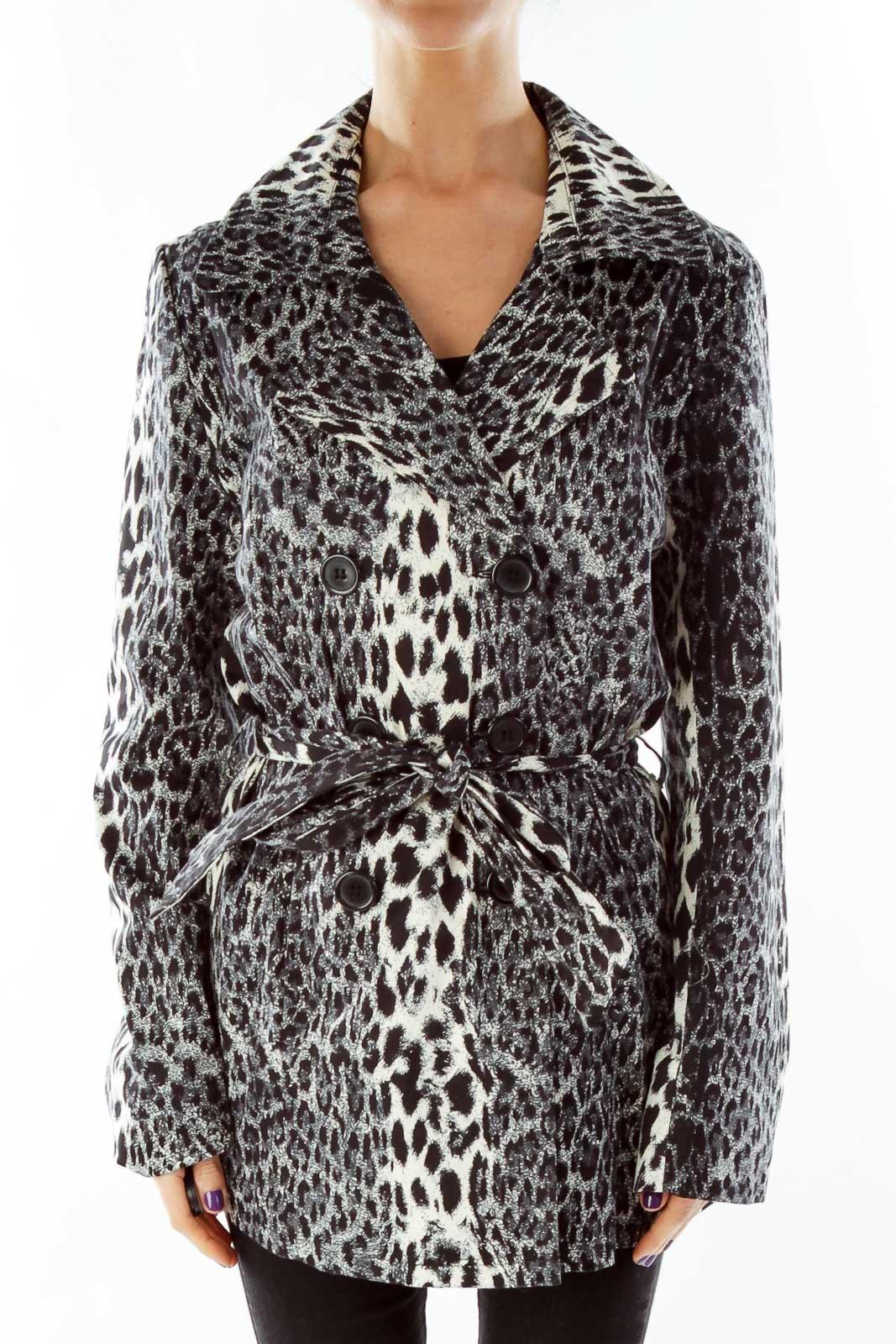 Black Beige Animal Print Coat Front