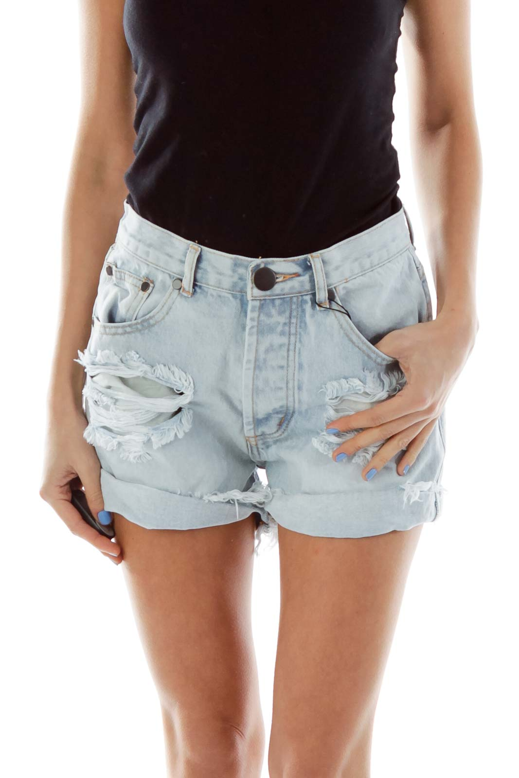 Blue Ripped Denim Shorts Front