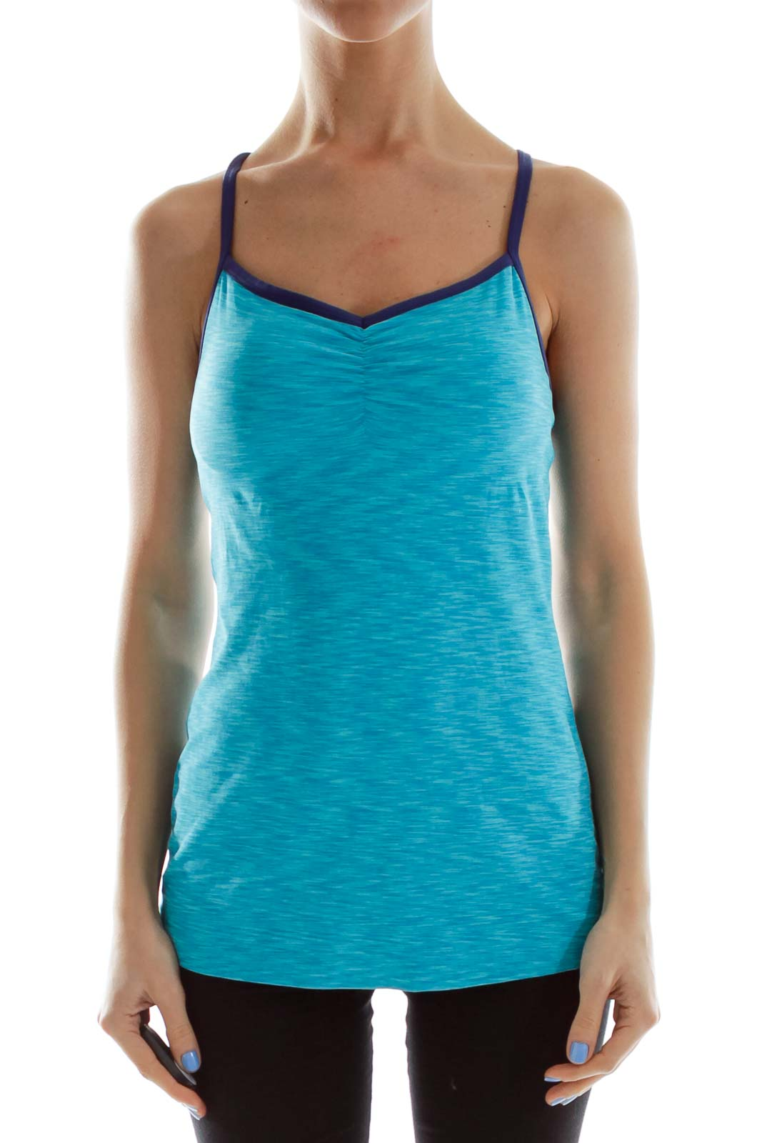 Blue Fitted Activewear Top Front