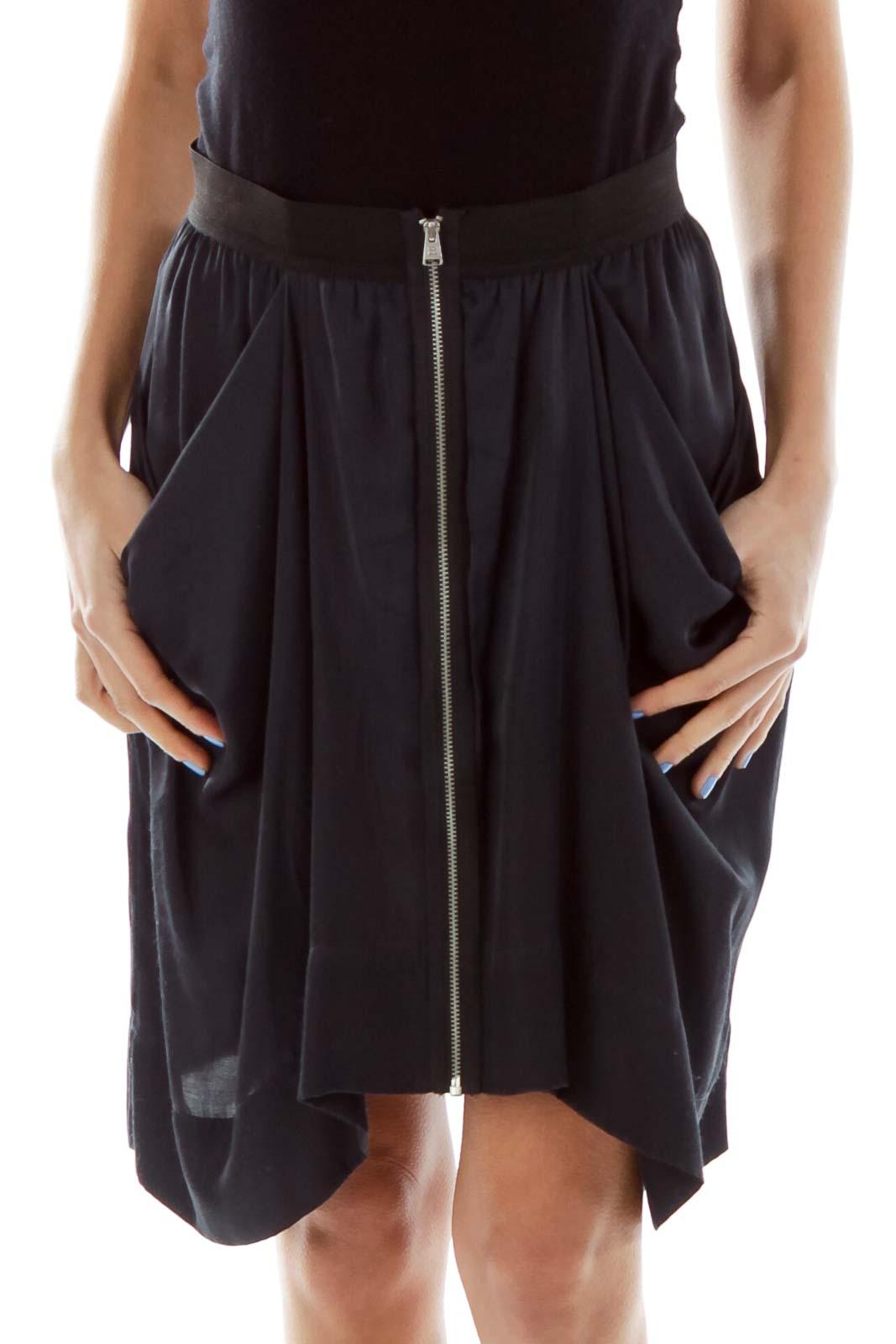Black Pocketed Skirt Front