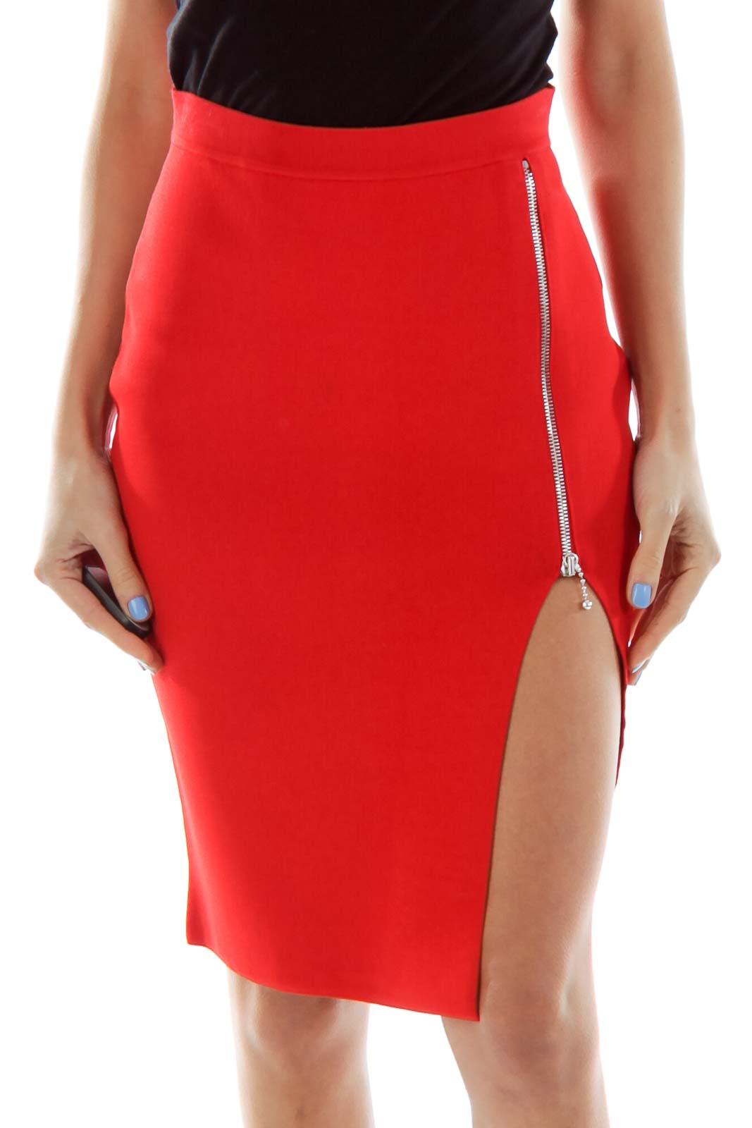 Red Zippered Pencil Skirt Front