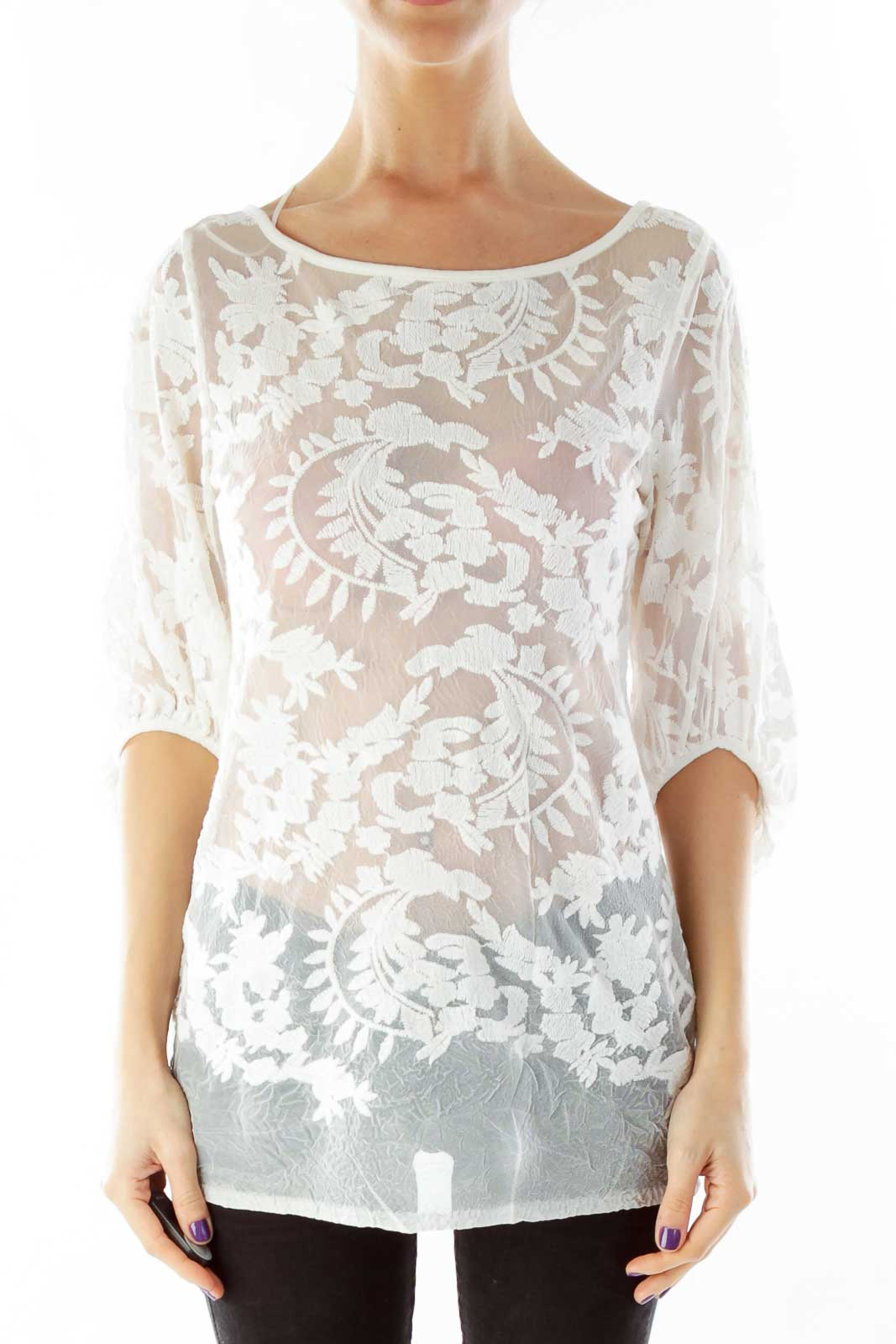 Cream Lace See-Through Blouse Front